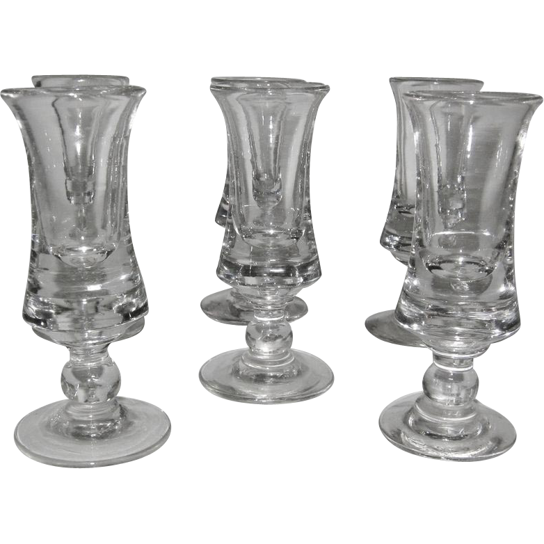 "A Set of  6 Antique ""Spirit Glasses"", late 18th-19th Century"