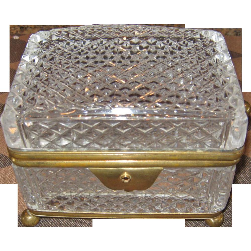 A Fine Antique 19th C. French Cut Crystal Box
