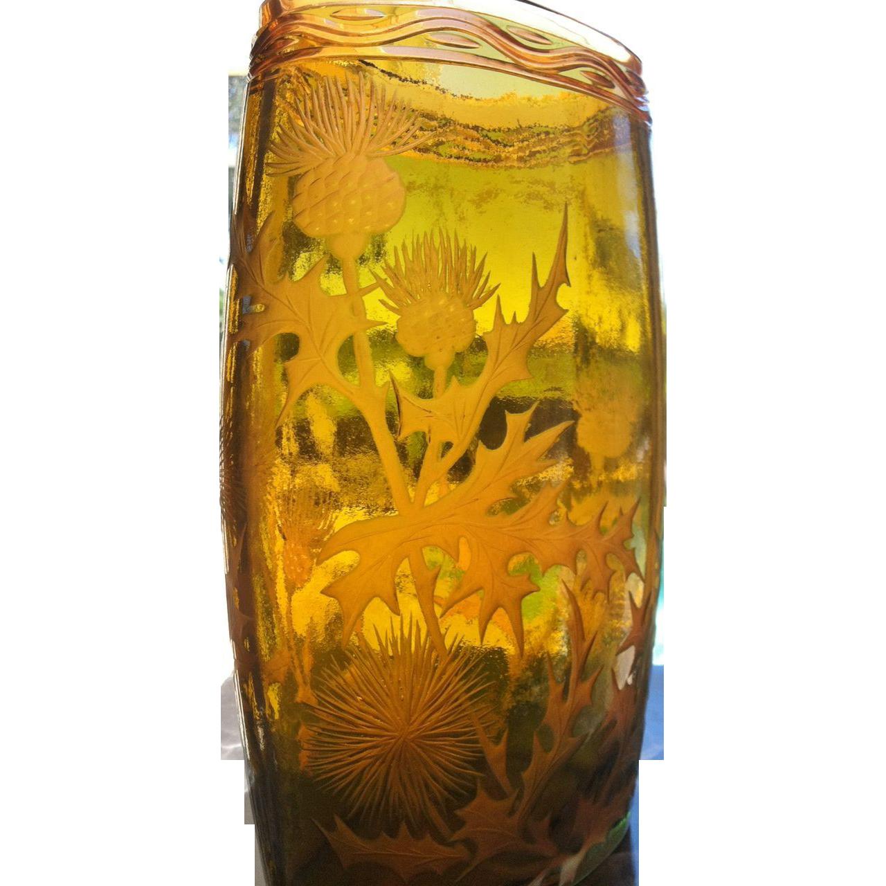 French Art Glass Vase, Wheel Cut Thistles Decor, CA.1930's