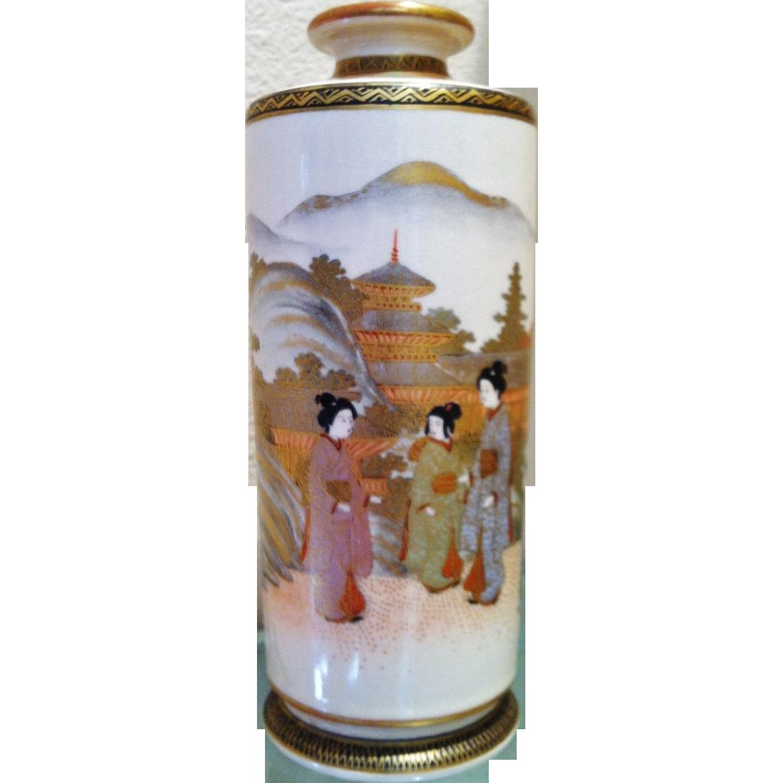 """Japanese Satsuma """"Cylinder"""" Vase, Ca.1900"""