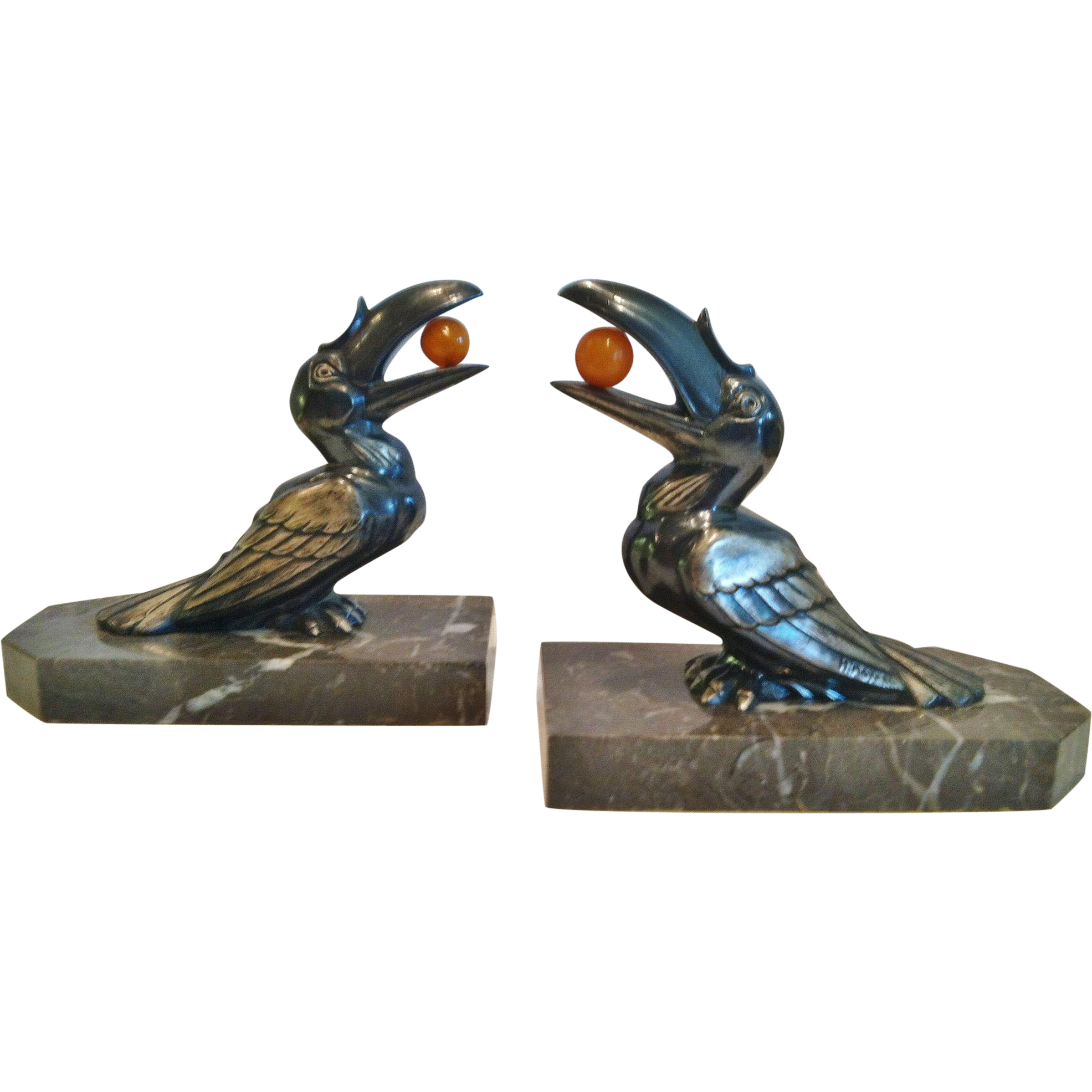 Vintage Pair of French Art Deco Bookends, Toucans, by H.Moreau, CA.1920's