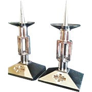 "A Rare Pair of French Silvered Bronze Altar Candlesticks, ""Neo Gothic"" Moderne Design,Paris CA.1940's"