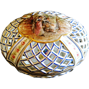 "Antique Hand Painted Porcelain Reticulated ""Potpouri"" Container, France, CA.1890"
