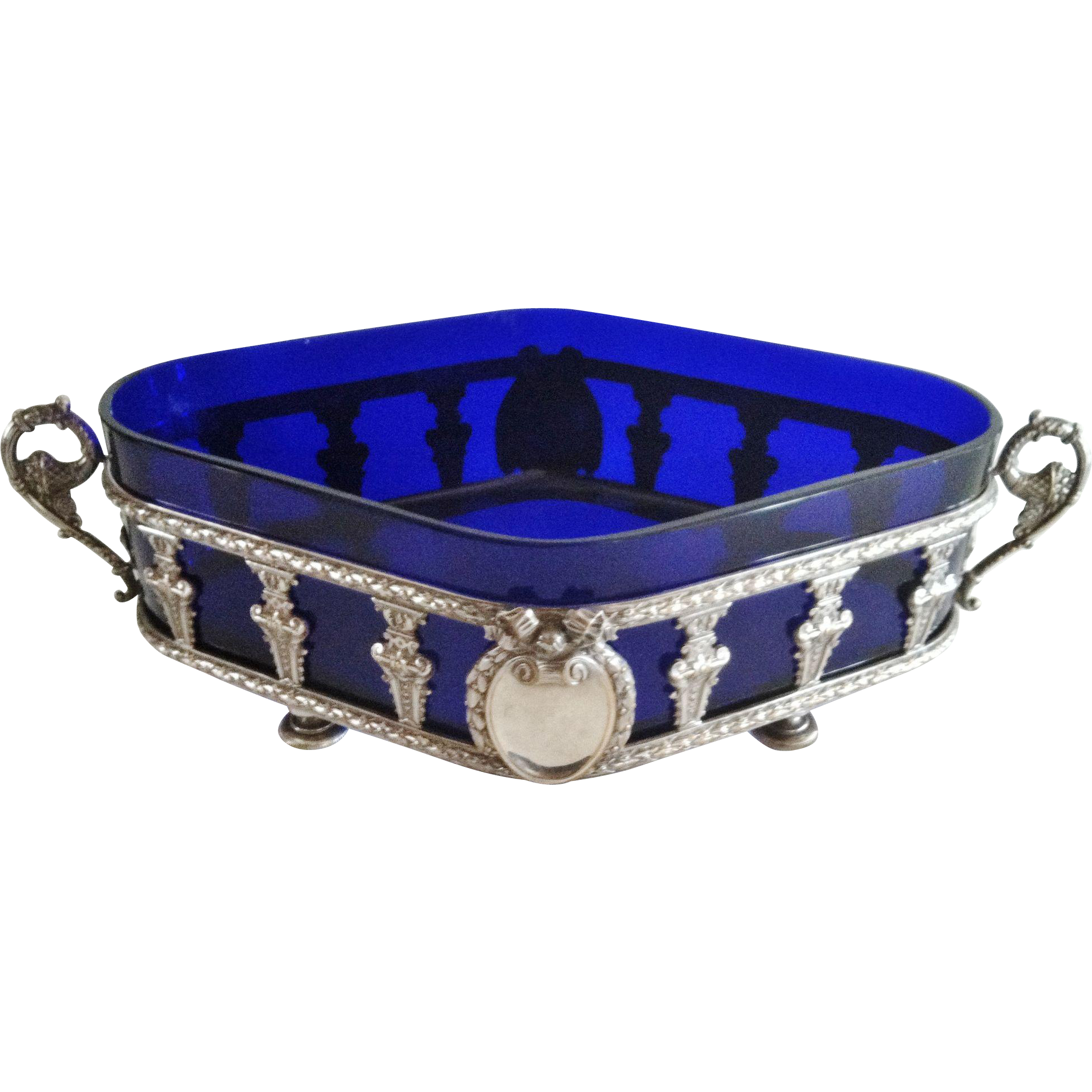 A French Louis XVI Style Table Jardiniere, Cobalt Glass Liner, CA.1900