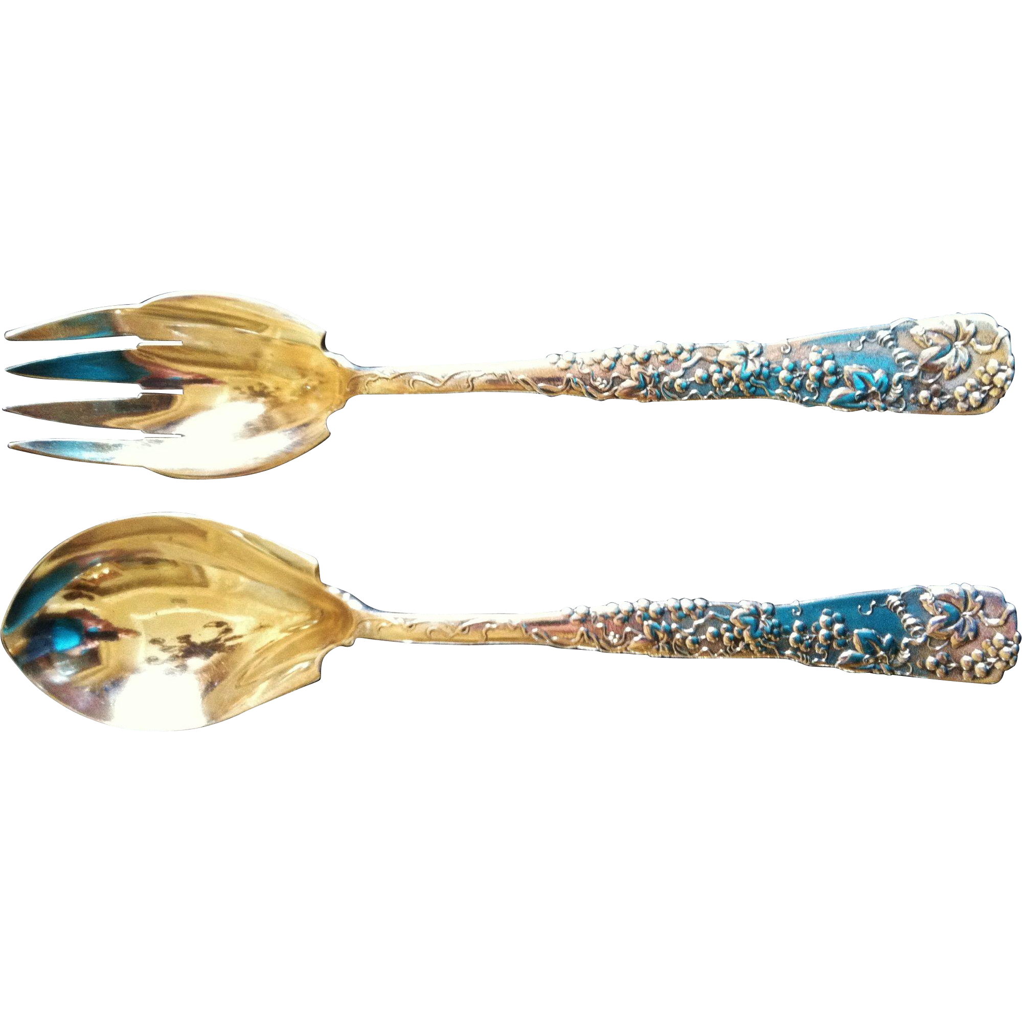 Tiffany Sterling Silver 2 Piece Salad Set, Vine Pattern, CA.1890