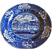 """Antique Historical Blue Staffordshire Plate, Clewes, """"Landing of Lafayettte"""