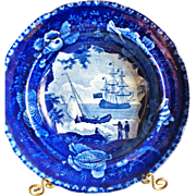 "Antique Historical Blue Staffordshire Soup Plate, Wood & Sons, ""American Clipper Ship"""