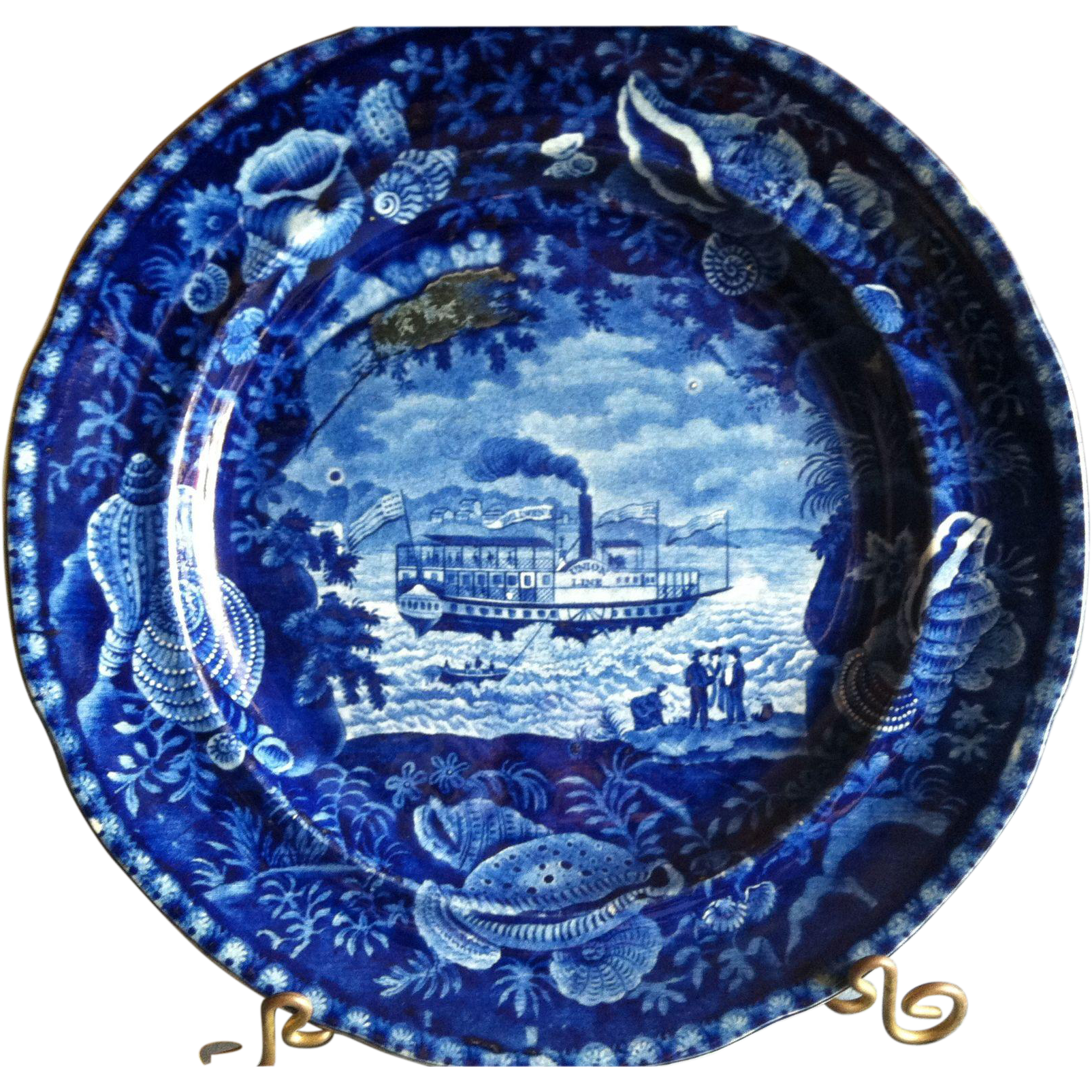 "Antique Historical Blue Staffordshire Plate, Wood & Sons, ""Unionline"""