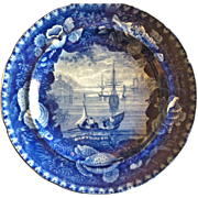 """Antique Historical Blue Staffordshire Plate, Wood & Sons, """"Dartmouth"""""""