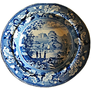 Antique Historical Blue Staffordshire Soup Plate, Lambton Hall Durham