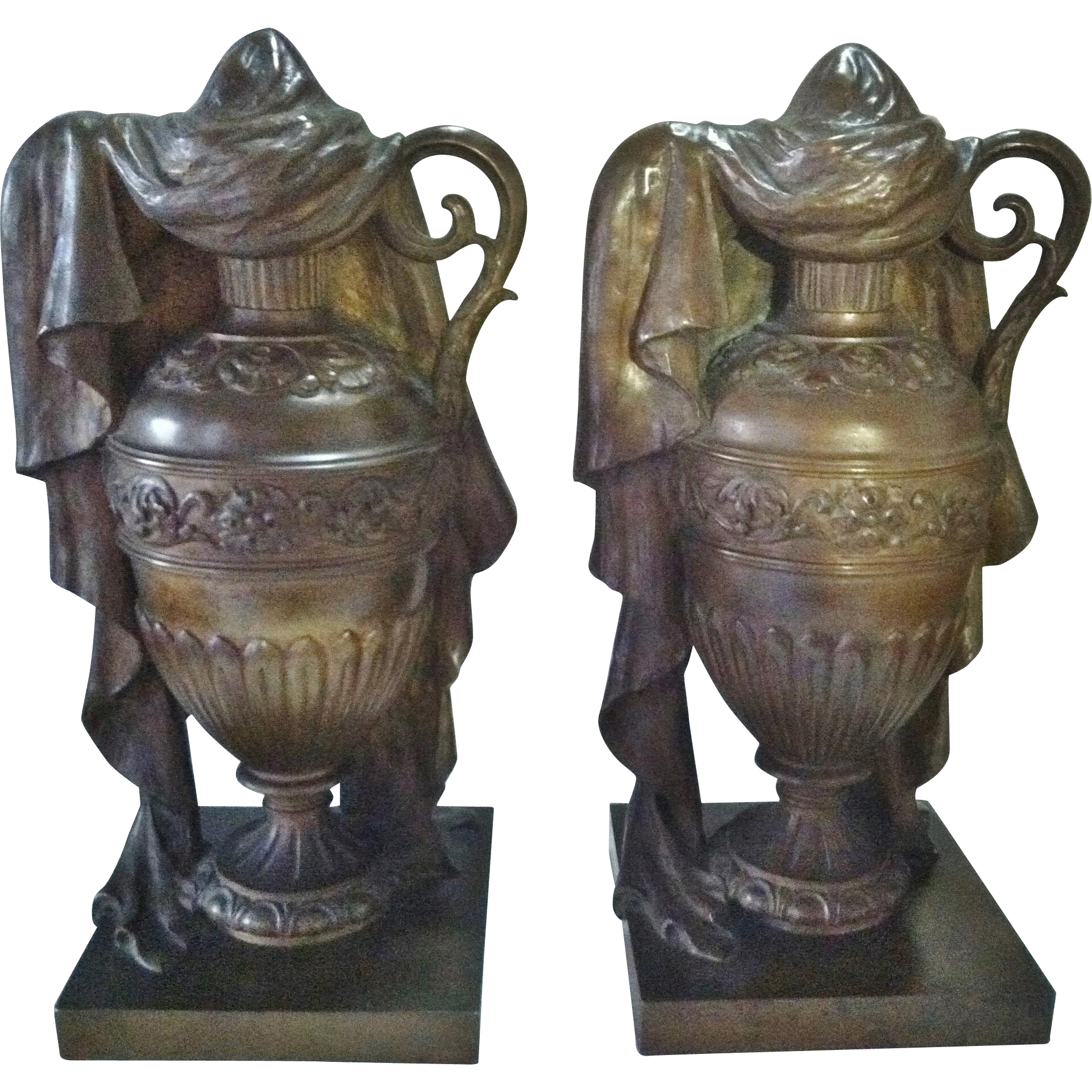 Antique Cremation Urns, 19th Century, Pair of Solid Bronze Draped Classical Form Urns