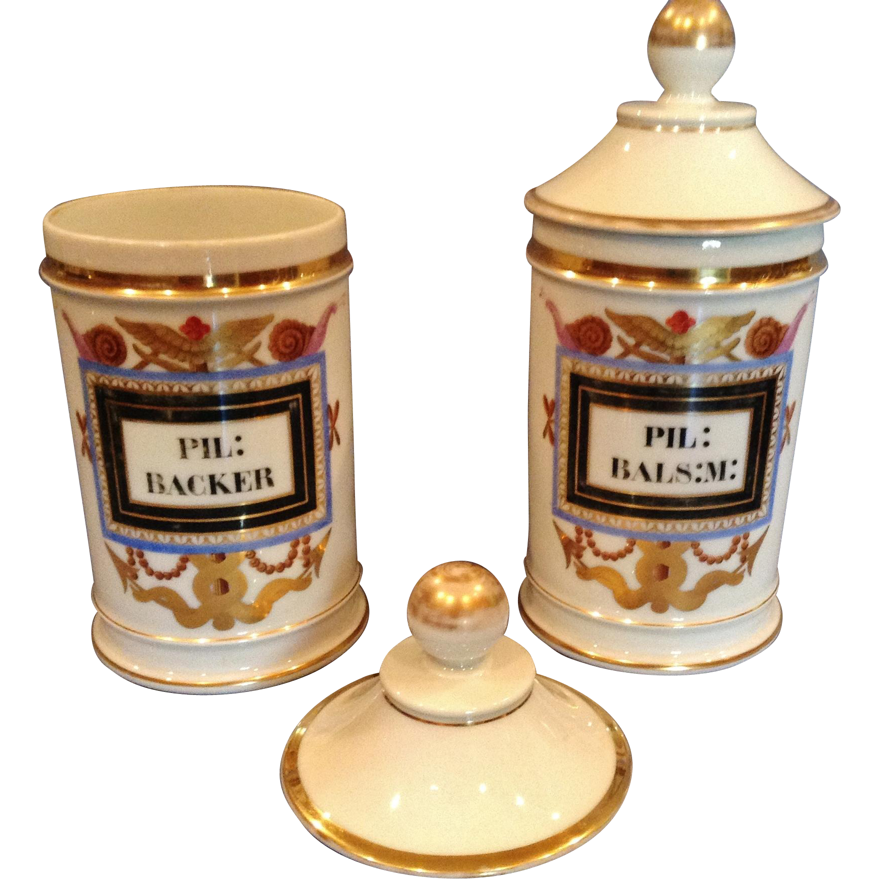 Antique French Porcelain Pharmacy or Apothecary Jars, 19th Century