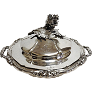 ODIOT .950 Silver Covered Serving Dish, Artichoke Finial, Ca. 1840