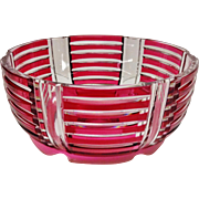 "A Fabulous ""Val St. Lambert"" Art Deco Cranberry Cut to Clear Center Bowl, Joseph Simon"" the Designer"