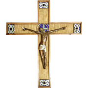"Vintage French Crucifix- ""Moderniste Medieval Style"", CA.1940's"