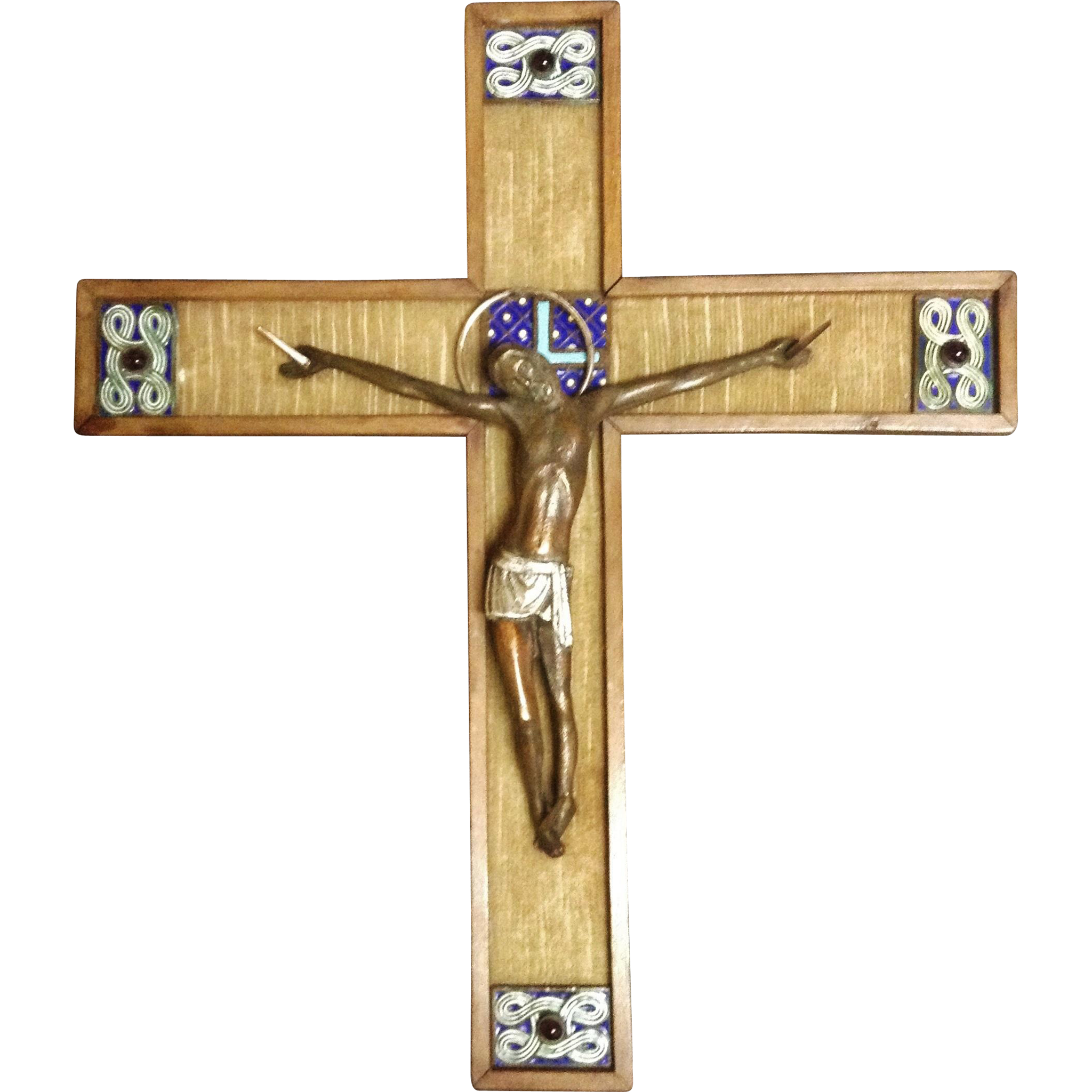 """Vintage French Crucifix- """"Moderniste Medieval Style"""", CA.1940's"""