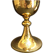 Vintage American Gilt Sterling Chalice & Paten, CA. 1920's
