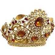 "An Antique French ""Corona"" or ""Crown, Dore' Brass with Clear & Colored Brilliants, CA.1860"