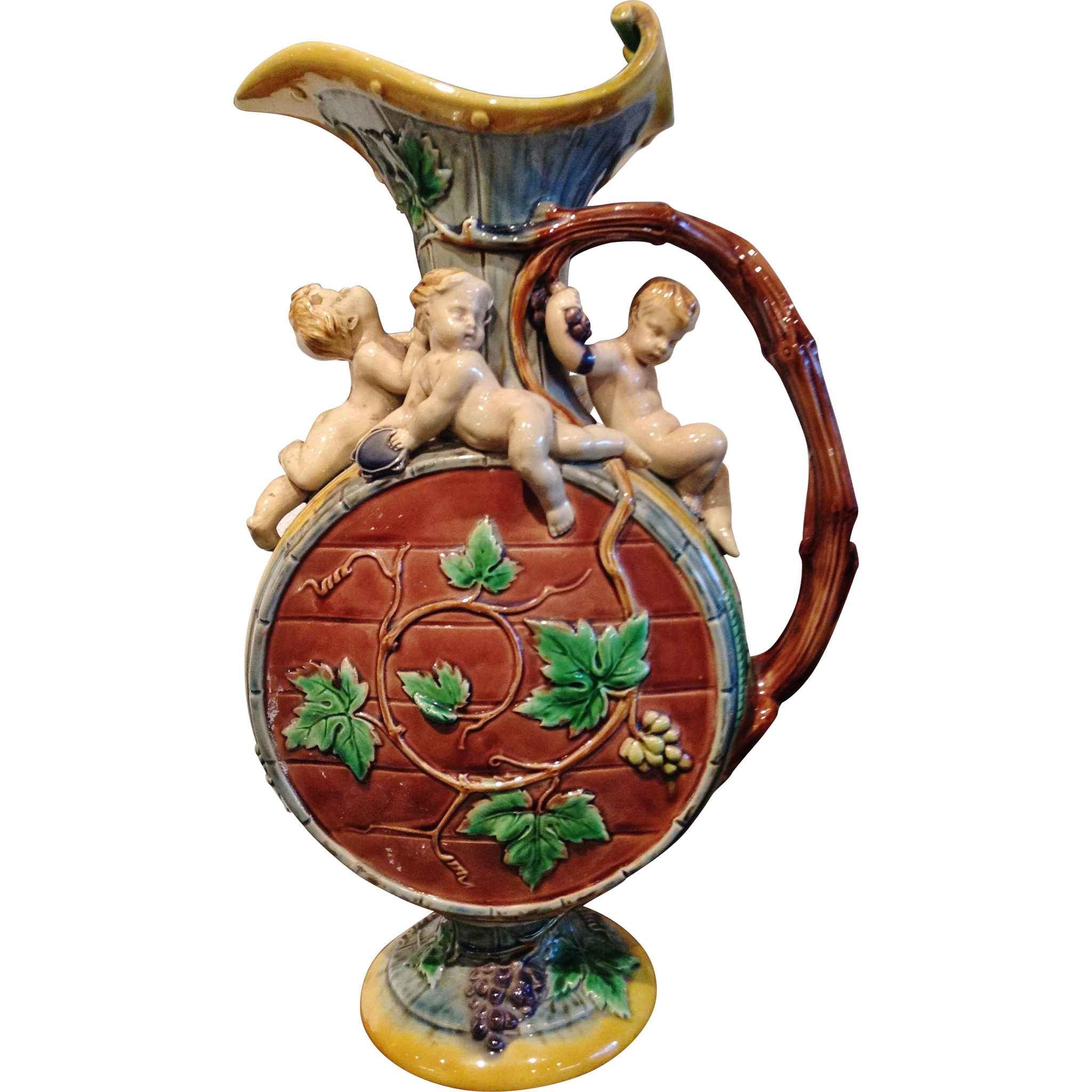 "Minton Majolica Ewer,  the ""Hugues Protat Ewer"", Date Mark 1866"