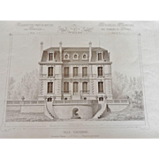 "A Group of 12 Original Antique French Steel Engravings, ""Architecture Privee-Nouvelle Maisons de Paris"", 1864 Paris"
