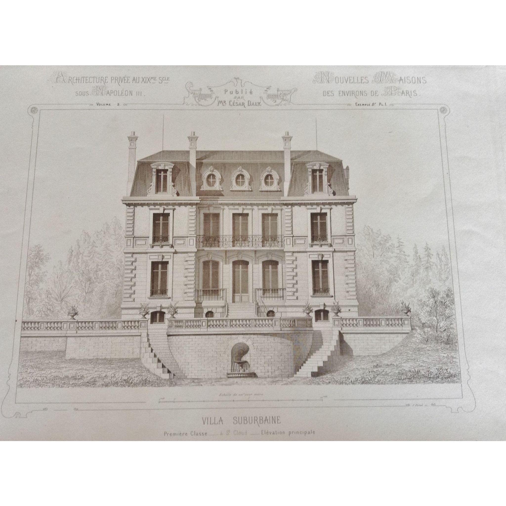 """A Group of 12 Original Antique French Steel Engravings, """"Architecture Privee-Nouvelle Maisons de Paris"""", 1864 Paris"""