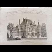 """A Group of 8 French Steel Engravings, """"Architecture Privee-Nouvelle Maisons de Paris"""", 1864 Paris"""