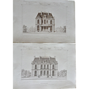 "A Group of 6 Original Antique French Steel Engravings, ""Architecture Privee-Nouvelle Maisons de Paris"", 1864 Paris"