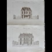 """A Group of 6 Original Antique French Steel Engravings, """"Architecture Privee-Nouvelle Maisons de Paris"""", 1864 Paris"""
