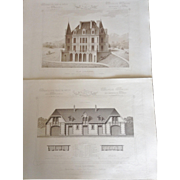 "A Group of 5 French Steel Engravings, ""Architecture Privee-Nouvelle Maisons de Paris"", 1864 Paris"