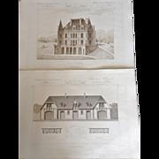 """A Group of 5 French Steel Engravings, """"Architecture Privee-Nouvelle Maisons de Paris"""", 1864 Paris"""