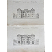 "A Group of 4 French Steel Engravings, ""Architecture Privee-Nouvelle Maisons de Paris"", 1864 Paris"