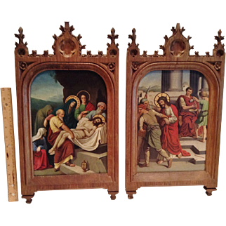 """Two Antique Original Hand Painted """"Stations of the Cross"""" on Copper Panels, CA.1870"""