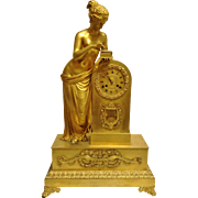 "Antique French Empire Period Figural Bronze Clock, ""Pandora"", by ""Claude Galle"", CA.1820"