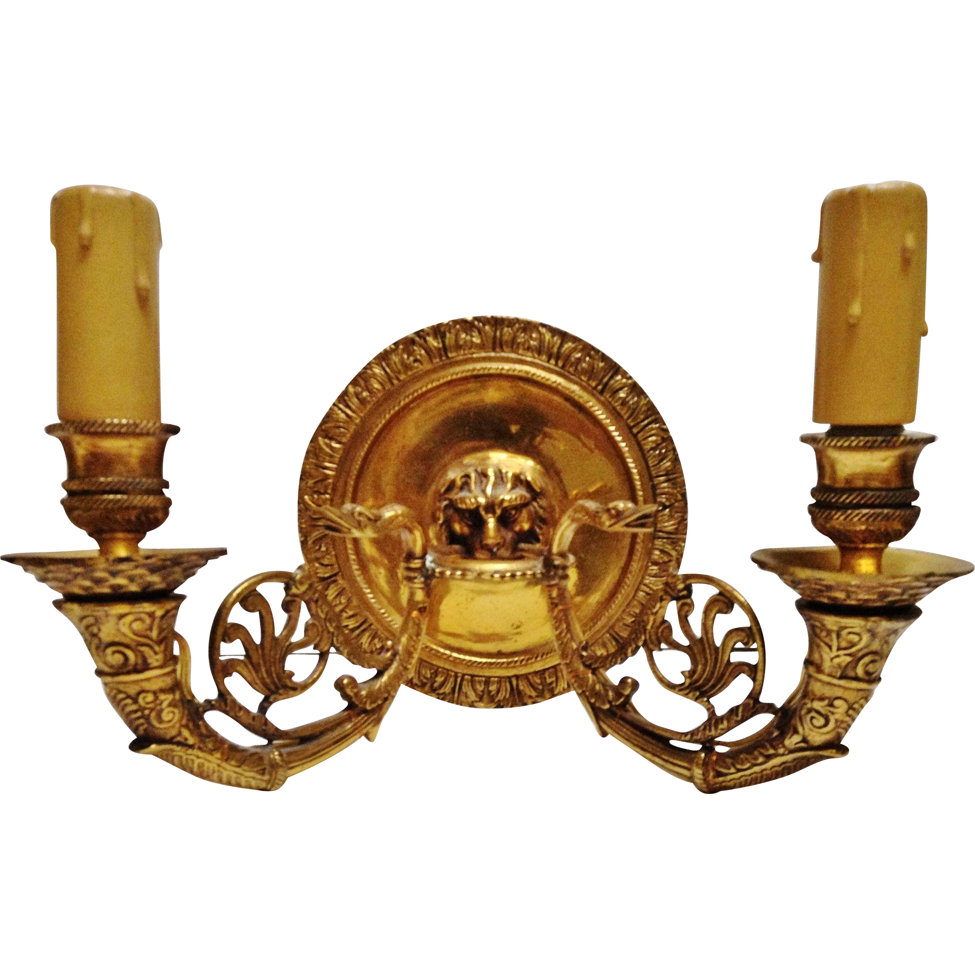 Vintage Pair of French Empire Bronze Wall Sconces, Lion & Swan from collectorsdelights on Ruby Lane