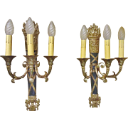 Pair of Large Vintage French Empire Style Bronze 3-Lite Wall Sconces, CA.1920's