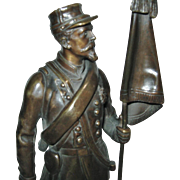 "Antique French Bronze Figure of a Soldier, by ""Charles AnFrie"", CA.1880"