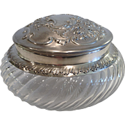 Antique French Silver & Cut Glass Round Covered Box, CA.1890