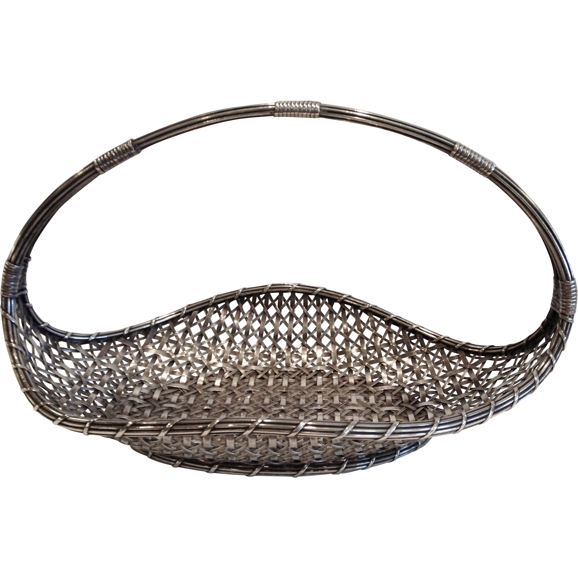 "Antique Christofle ""Panier de Table"", A Woven Silvered Handled Basket, CA.1890"