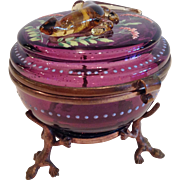 Antique Moser Amethyst Glass Covered Box, Figural Golden Salamander on Lid, CA.1880