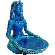 """Vintage French Art Deco Egyptian Revival Seated Figure, """"Egyptian Blue Faience"""", CA.1920's"""