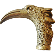 """19th Century French Bronze Figural Cane or Walking Stick Handle of a """"Bird Man"""" (Casse de Tete type)"""