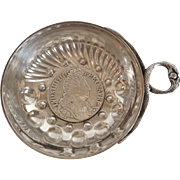 """Antique French .950 Silver Wine Taster (Tastevin), with Louis 14th """"Sun King"""" Coin of 1710, CA.1890"""