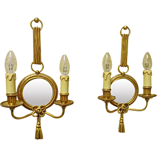 """Vintage Pair of """"Atelier Petitot"""" French Dore' Bronze Sconces with Convex Mirrors"""