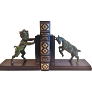 "Vintage Pair of ""Carlier"" Bookends..Baby Pan & Goat French CA.1930's"