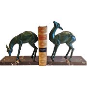 "Vintage Pair of ""Rochard"" Bookends - ""Jeunes Biche"", CA.1930's"