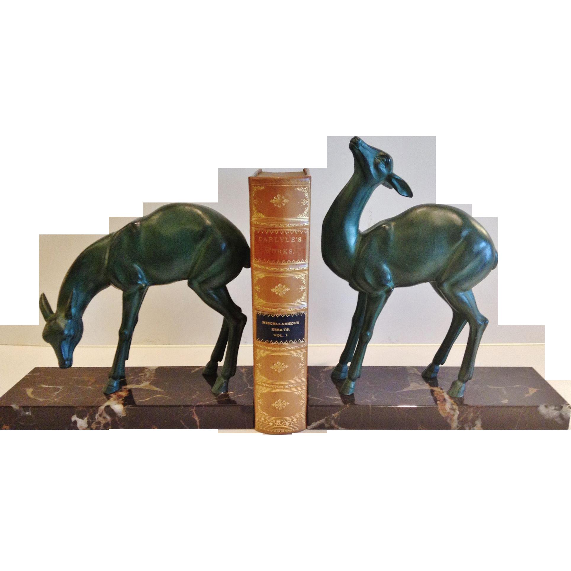 "Vintage Pair of ""Rochard"" Bookends - ""Jeunes Biche"", CA.1930's"