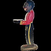 "Vintage Carved & Polychrome Painted Wood ""Bellhop"" or ""Butler"", Black Americana Figure, CA.1930's"