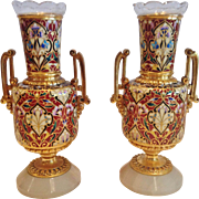 An Important Pair of French Champleve & Dore Bronze Vases, Designed by L.C.Sevin, CA.1870