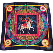 """A Rare Vintage Hermes Silk Scarf, """"Feux Artifice"""" (Fireworks!), 1987 Special Edition by Michel Duchene"""
