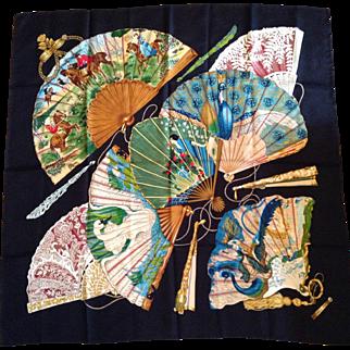 "Vintage Hermes Silk Scarf - ""Brise de Charme"" - Charming Breeze, 1990 design by Julia Abadie"